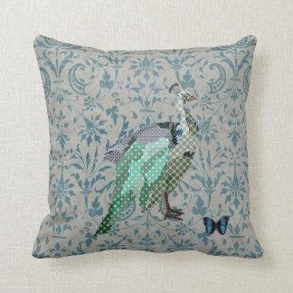 Travesseiro de Mojo do damasco do pavão & da borbo