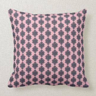 Travesseiro decorativo azul cor-de-rosa do nó almofada