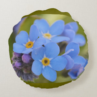 Travesseiro decorativo azul da flor do miosótis almofada redonda