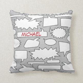 Travesseiro decorativo da bolha da conversa da