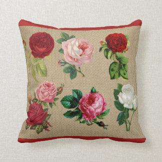 Travesseiro decorativo do algodão dos rosas de almofada