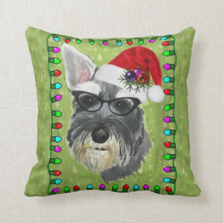 Travesseiro decorativo do Natal do Schnauzer Almofada