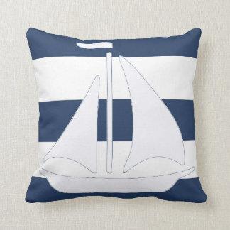 Travesseiro decorativo náutico da listra azul do almofada