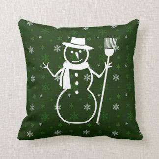 Travesseiro decorativo verde do boneco de neve almofada