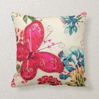Travesseiro decorativo vermelho da borboleta almofada