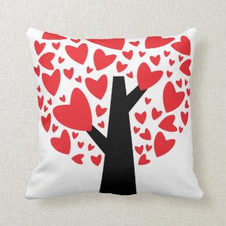 Travesseiro do dia dos namorados da árvore do cora