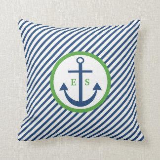 Travesseiro do monograma da âncora dos azuis almofada