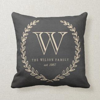 Travesseiro do monograma do estilo do quadro almofada