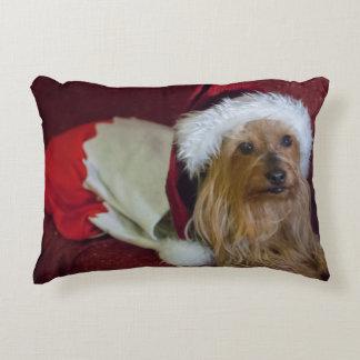 Travesseiro do Natal de Yorkshire (yorkie) /Silky Almofada Decorativa