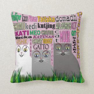 Travesseiro dos gatos do trio almofada