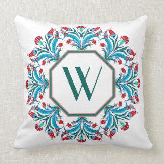 Travesseiro elegante do design floral do monograma almofada