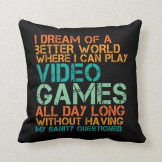 Travesseiro engraçado das citações para o video almofada
