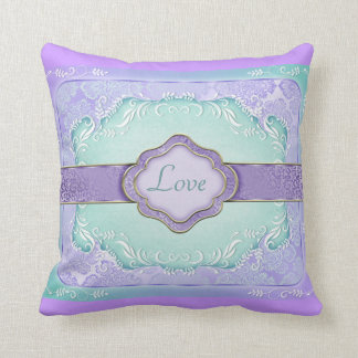 Travesseiro esverdeado do amor do chique do roxo/c