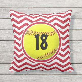 Travesseiro exterior do softball vermelho do almofada para ambientes externos