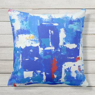 Travesseiro exterior transversal azul almofada