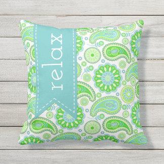 Travesseiro exterior verde de Paisley Almofada