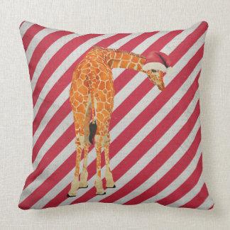 Travesseiro festivo do bastão de doces do girafa almofada
