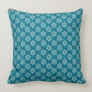 travesseiro floral azul do teste padrão almofada