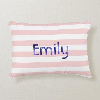 Travesseiro listrado cor-de-rosa e branco almofada decorativa