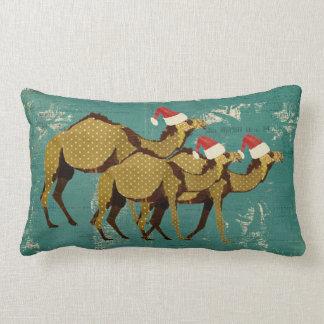 Travesseiro lombar azul do Natal dos camelos