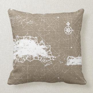 Travesseiro náutico do mapa almofada