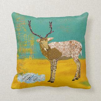 Travesseiro ornamentado de Mojo do monograma dos Almofada