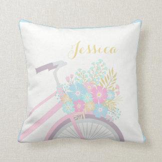 Travesseiro Pastel bonito da bicicleta da flor do Almofada