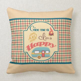 Travesseiro personalizado do campista feliz (Tan & Almofada