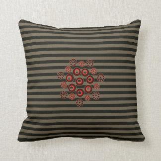 Travesseiro quadrado listrado cinzento do acento! almofada