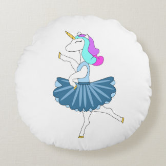 Travesseiro redondo da dança azul branca da almofada redonda