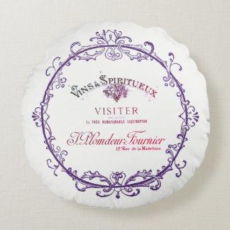 Travesseiro redondo da etiqueta do vinho francês almofada redonda