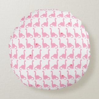 Travesseiro redondo do dinossauro cor-de-rosa almofada redonda