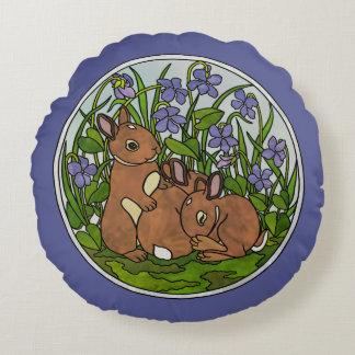 Travesseiro redondo dos coelhos bonitos do bebê almofada redonda
