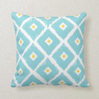 Travesseiro tribal azul do teste padrão do