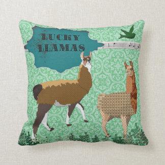 Travesseiro verde de Mojo dos lamas afortunados