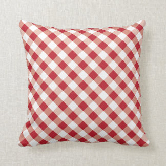 Travesseiro vermelho e branco quadrado do teste almofada