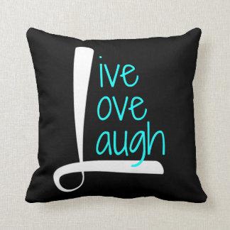 Travesseiro vivo, branco & Aqua do riso do amor no Almofada