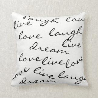 travesseiro vivo da tipografia do sonho do riso do almofada