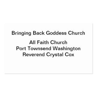 Trazendo para trás a igreja da deusa cartão de visita