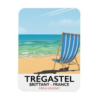 Trégastel, poster de viagens da praia de Brittany Foto Com Ímã Retangular