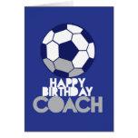 TREINADOR do feliz aniversario com bola de futebol Cartões