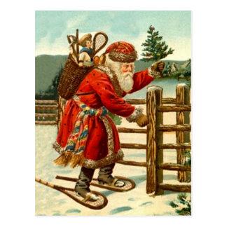 Trekking rústico da floresta do sapato de neve do cartão postal