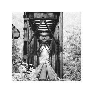 Treliça rural preto e branco do trem em canvas