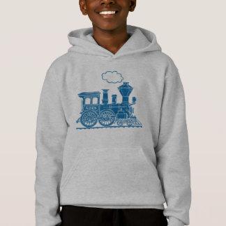 Trem azul da locomotiva de vapor seu hoodie