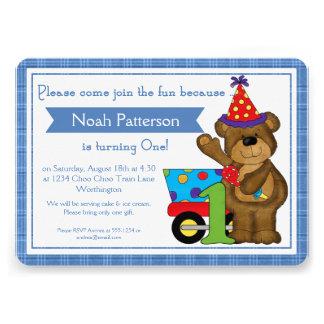 Trem d1 do urso de ursinho dos convites do menino