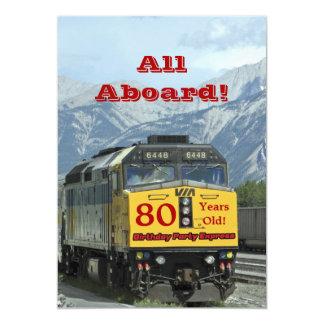 trem de estrada de ferro do convite de aniversário