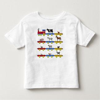 Trem do animal de fazenda camiseta infantil