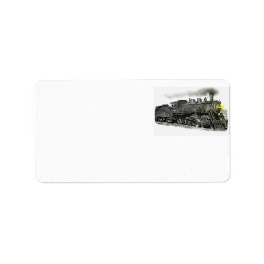 Trem do vapor etiqueta de endereço