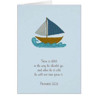 Trem do veleiro um obrigado da escritura da cartão
