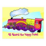 Trem feliz cartão postal